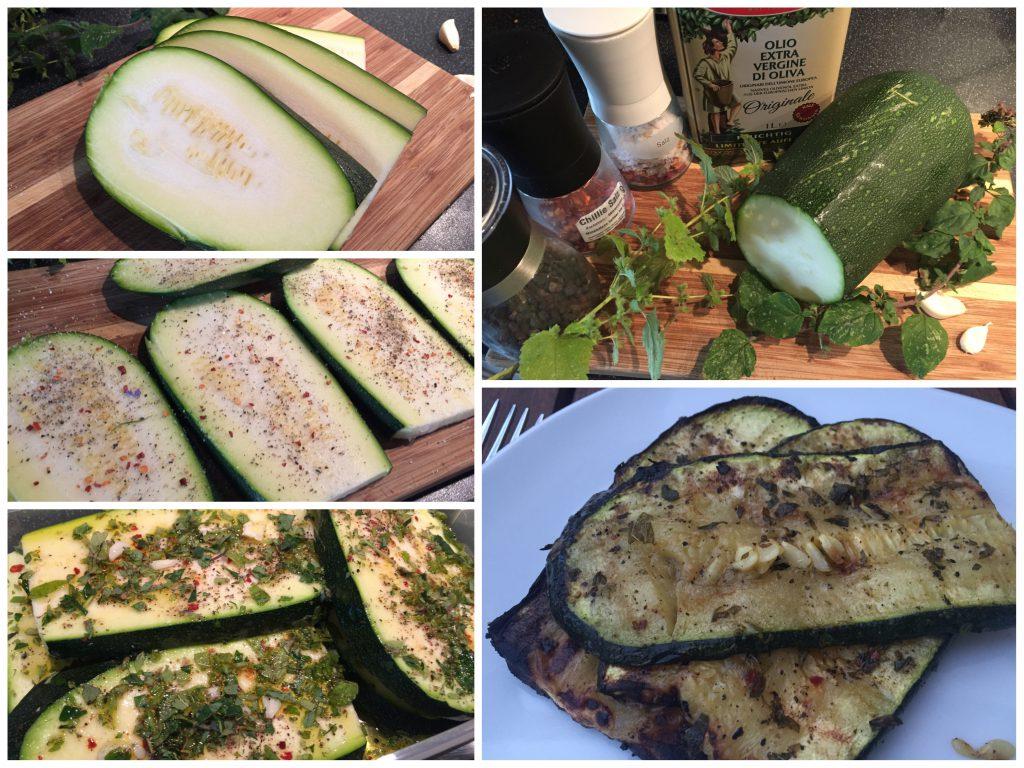 Gegrillte Zucchini mit Zitronenmelisse und Oregano