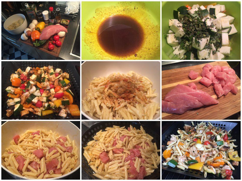 Nudel-Gemüse-Grillpfanne mit Putenbruststückchen