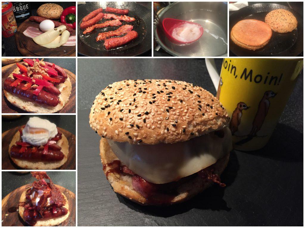 Knackwurstburger mit pochiertem Ei