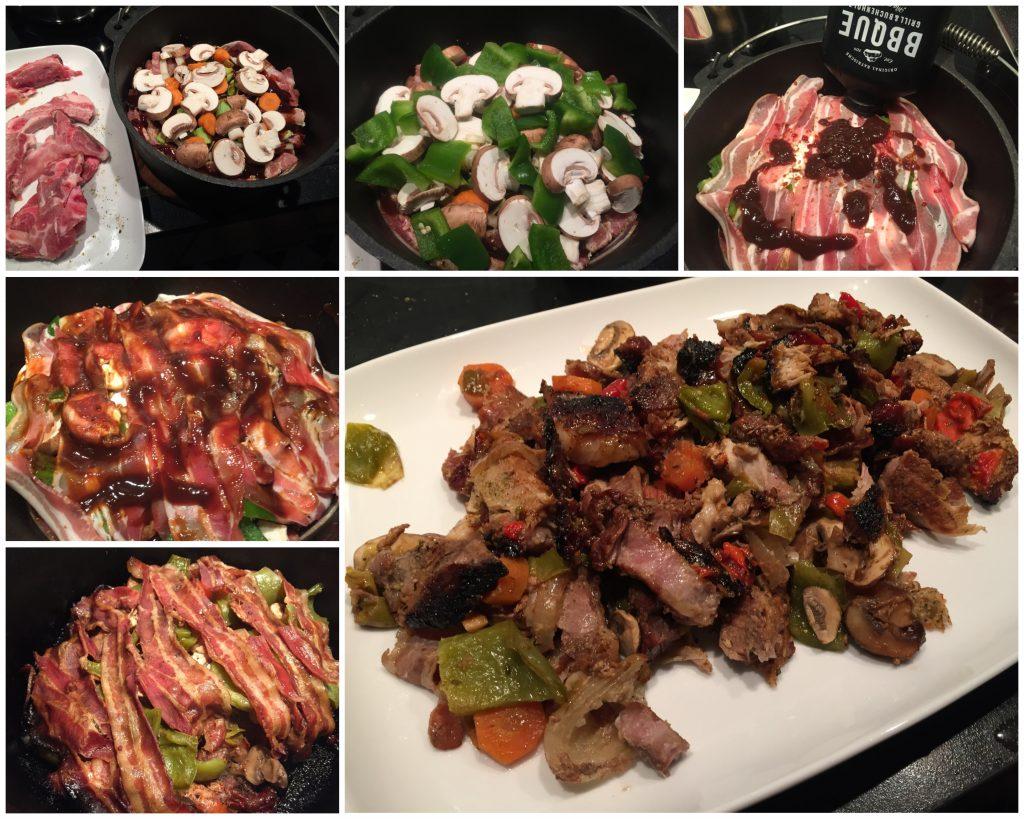 Schichtfleisch mit viel Gemüse