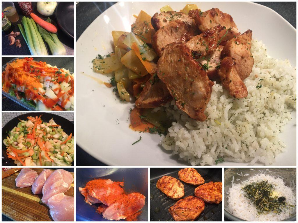 Wok-Gemüse mit Reis und Putenbrust