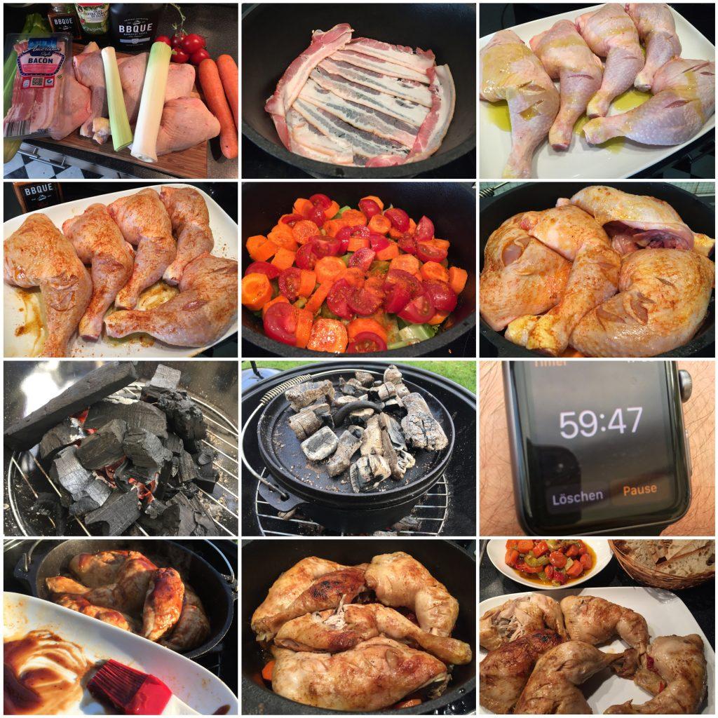 Hähnchenschenkel auf Gemüse aus dem Dutch Oven