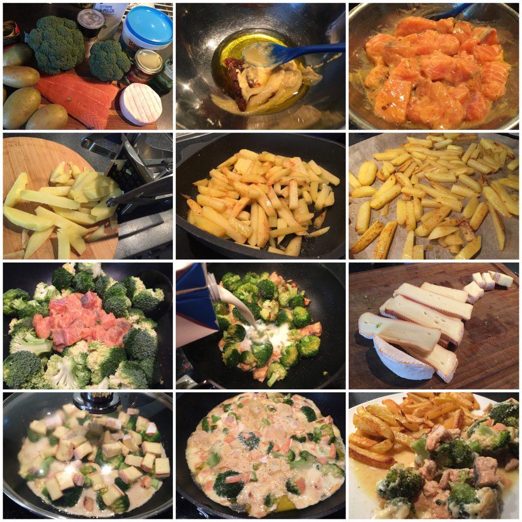Broccoli-Lachs-Käse-Pfanne mit Kartoffelstiften