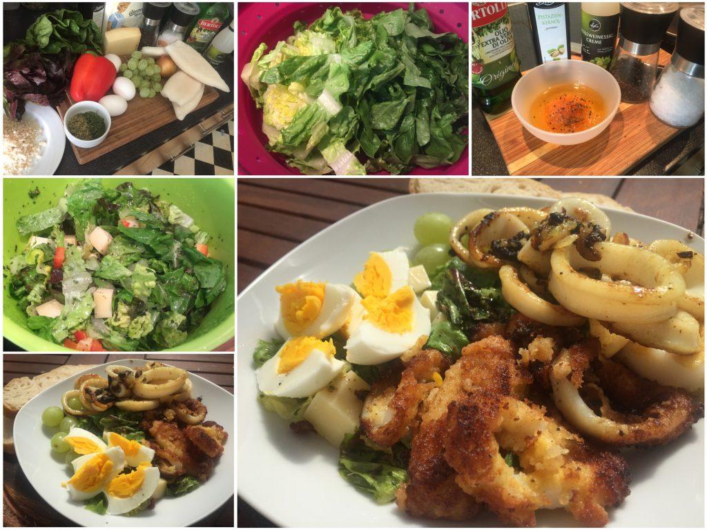 Romana-Salat mit Tintenfisch