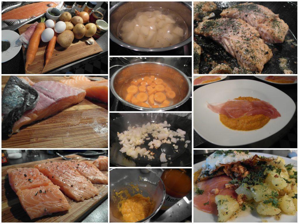 Lachs mit Möhrensoße und gebratenen Kartoffelstücken