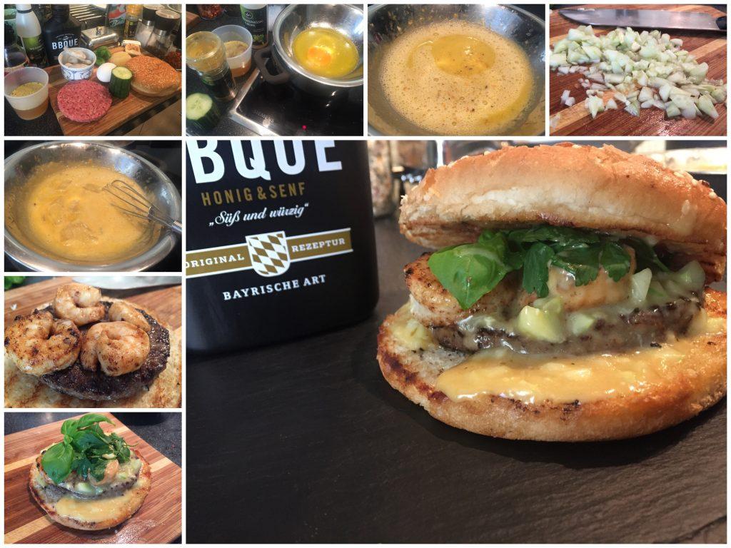 Surf and Turf Burger mit Gurken-Käse-Sauce