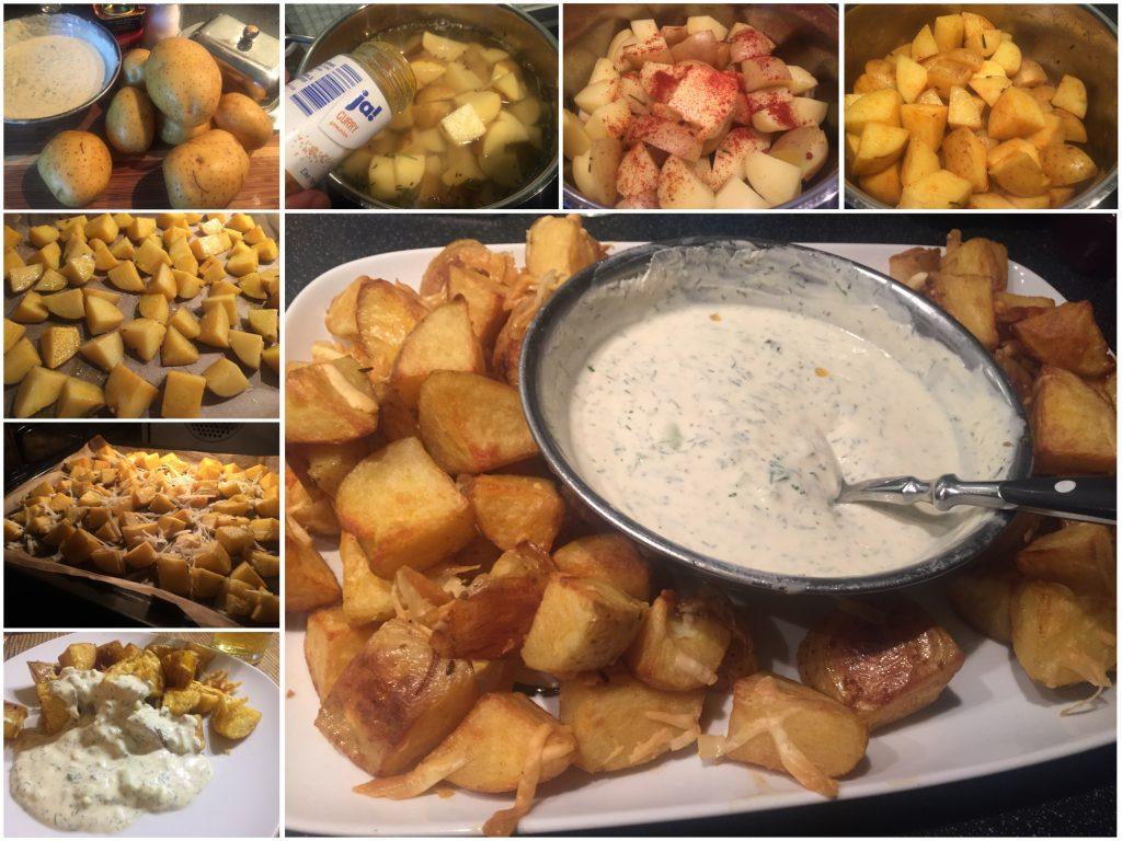 Gebackene Kartoffelecken mit Quarkremoulade