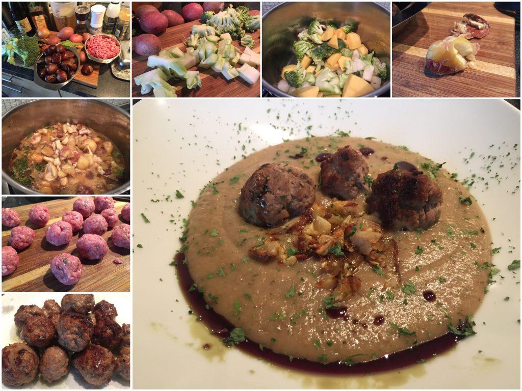 Kartoffel-Brokkoli-Maronen-Suppe mit Hackbällchen
