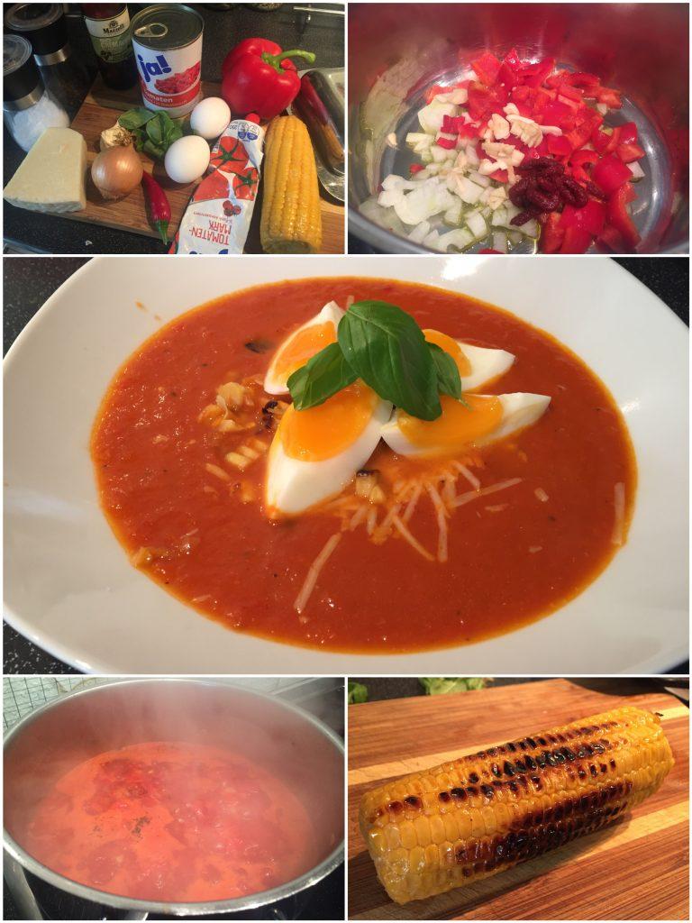 Tomatensuppe mit Parmesan und Ei
