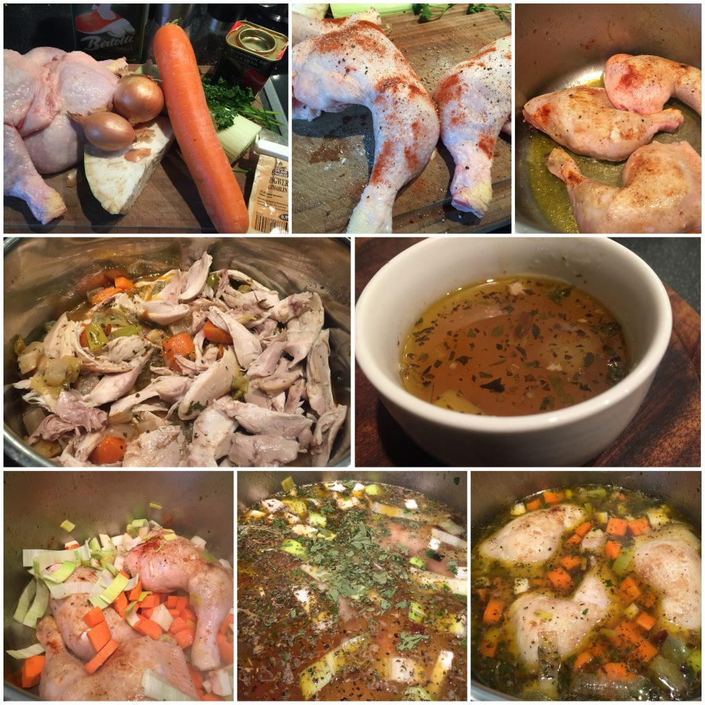 Hühnerbrühe und Hühnereintopf