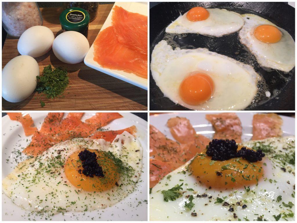 Setzei mit Lachs und Kaviar