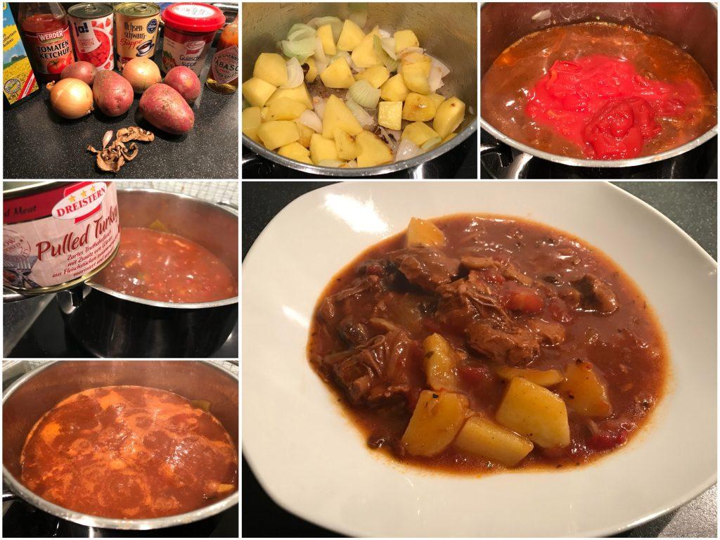 Vier Dosen Suppe mit Truthahn