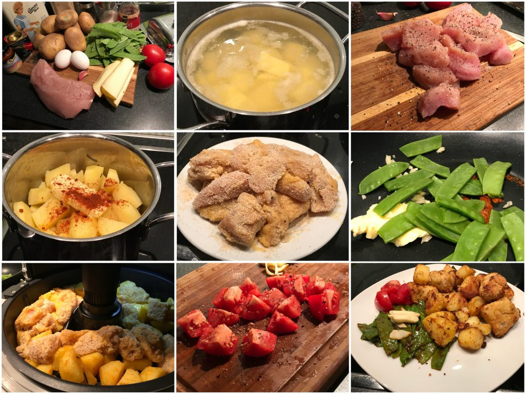 Putennuggets mit Kartoffelstücken und Zuckerschoten