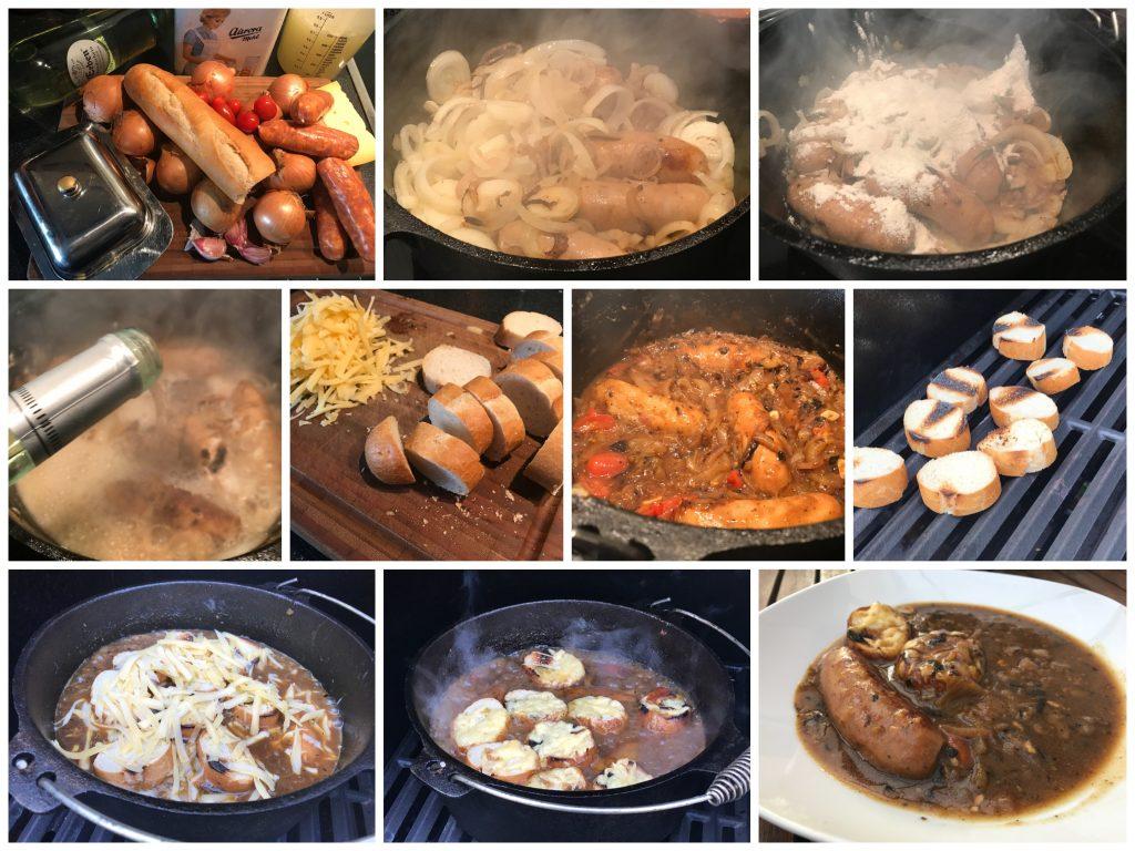 Zwiebelsuppe mit Chorizo aus dem Dutch Oven