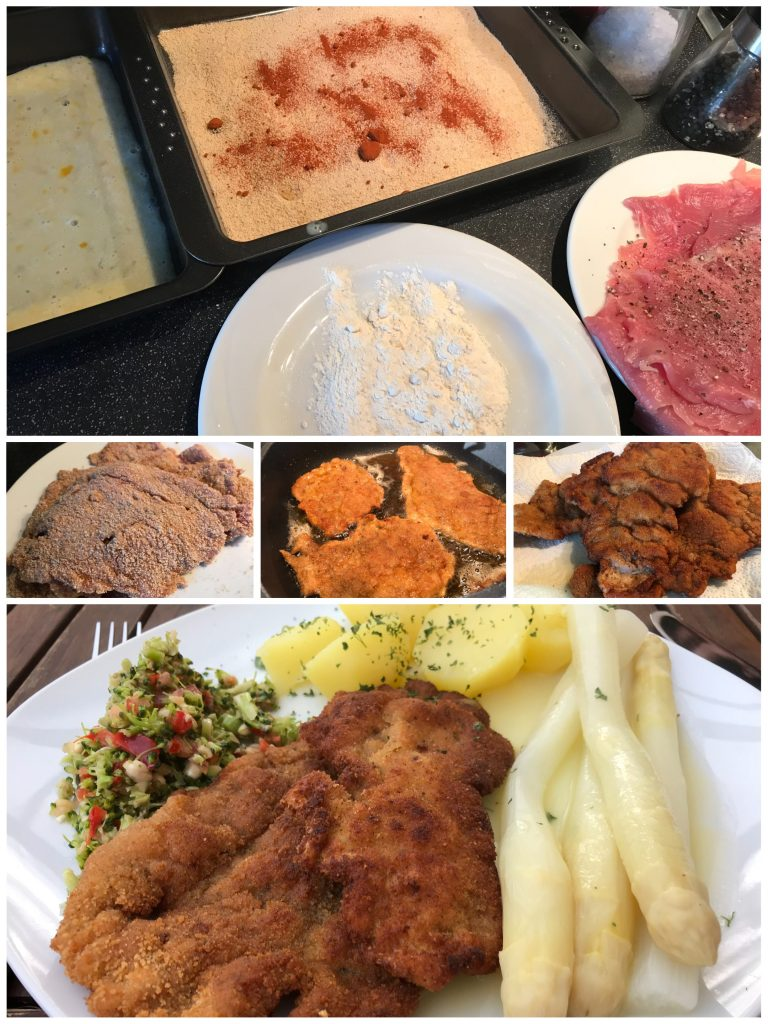 Schnitzel von der Schweinelende mit Spargel und Brokkoli-Paprika-Salat