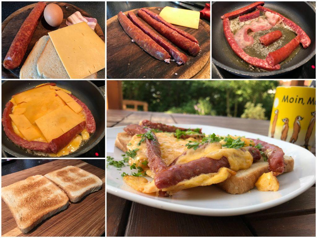Knackwurst-Ei-Toast
