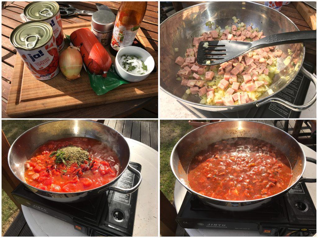 Tomatensoße mit Jagdwurstwürfeln
