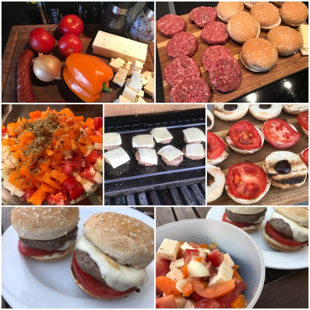 Miniburger mit Tomaten-Paprika-Salat