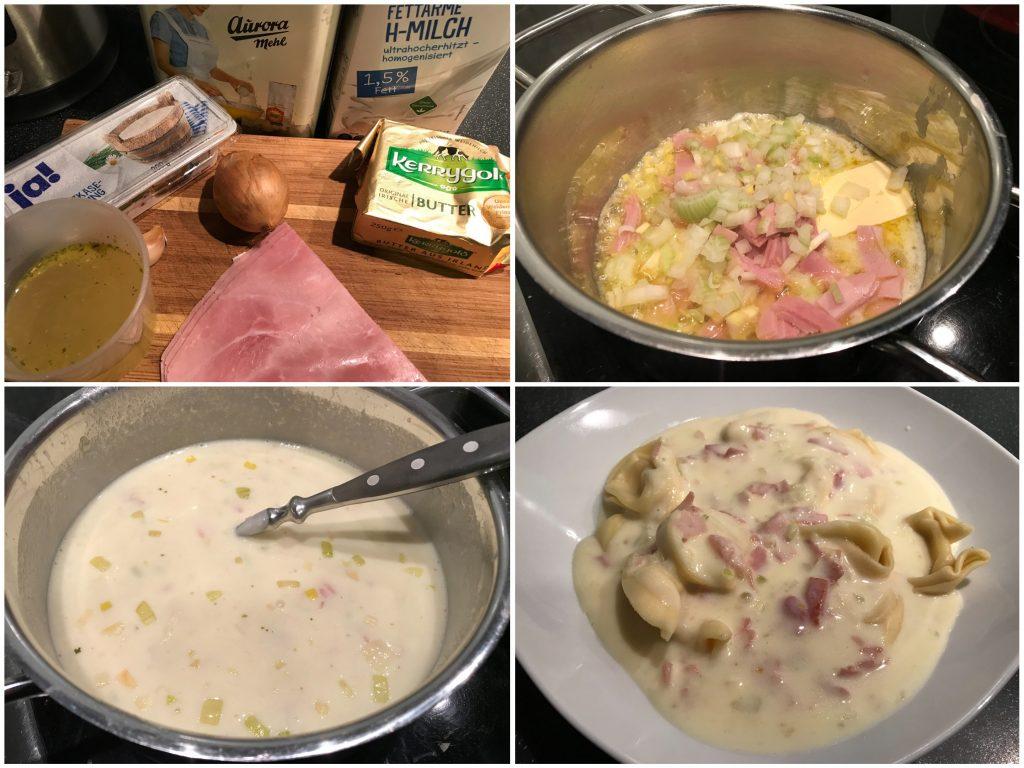 Schinken-Käsesoße mit Tortellini