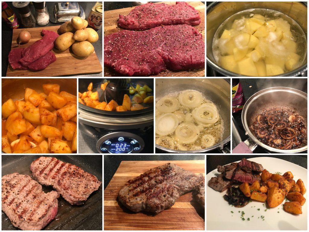 Jungbullensteak mit Balsamicozwiebeln und Kartoffelstücken aus der Heißluftfritteuse