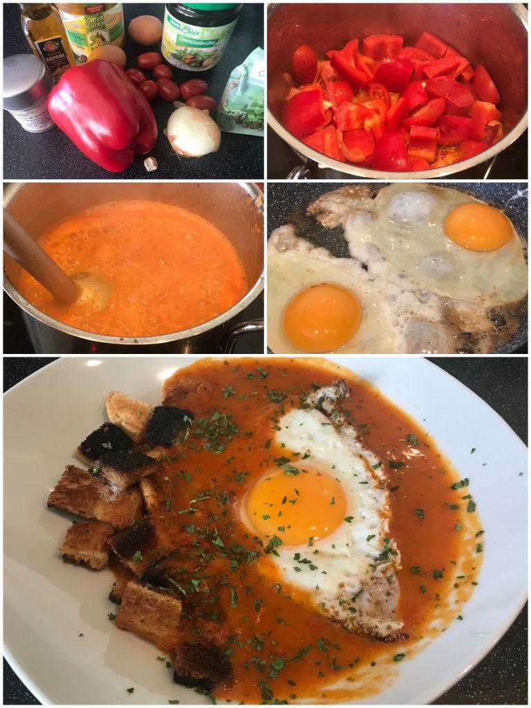 Paprika-Tomaten-Frühstückssuppe mit Ei