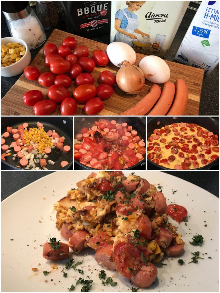 Tomatenomelett mit Wienerwürstchen