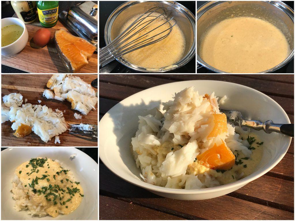 Heilbutt mit Reis und Senf-Zitronen-Sauce