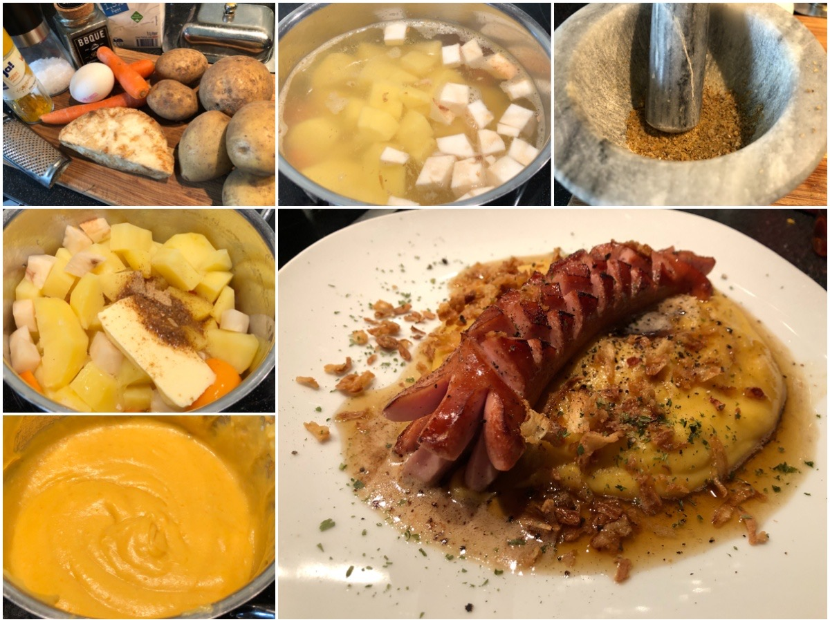 Sellerie-Kartoffelpüree mit einem Capuccino-Touch