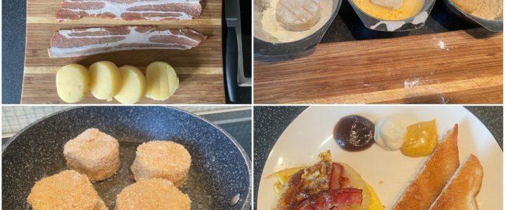 Panierter Harzer mit Bacon