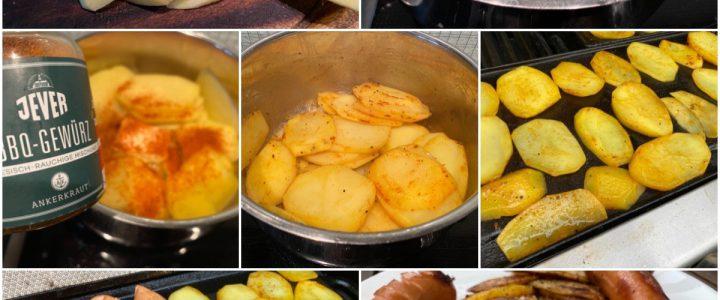 Gegrillte Bockwurst und Kartoffelscheiben